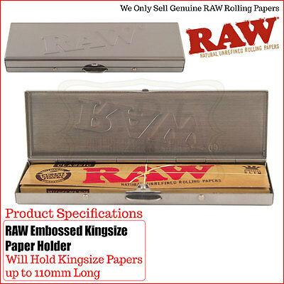 Raw Embossed Stainless Steel King Size Rolling Paper Case - 1 & 2