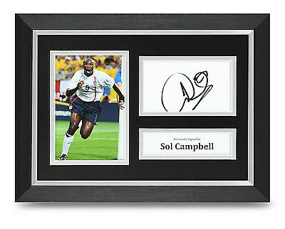 Sol Campbell Signed A4 Photo Framed England Memorabilia Autograph Display + COA