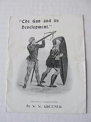 Circa 1910 The Gun and its Development by W.W.Greener , 8 Page Promo Booklet