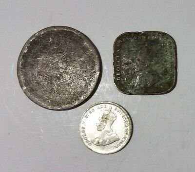 Straits Settlements 3 old coins Queen Victoria & KGV 1cent, 60% Silver 10 cents