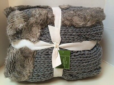 Pottery Barn Chunky Cable Knit Gray Throw with Fur Trim 48 x 60 NWT~ SOLD OUT@PB