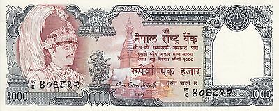 Nepal :1000 Rs. Banknote, Serial No. on King's Chest, Sign# 10, P# 36a, UNC.