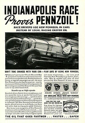 Pennzoil Indianapolis Race Print Ad 1935 Black and White Car Racing Motor Oil