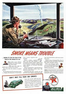 1941 PARK FOREST RANGER Spots Forest Fire & Calls In -TEXACO Replica Metal Sign
