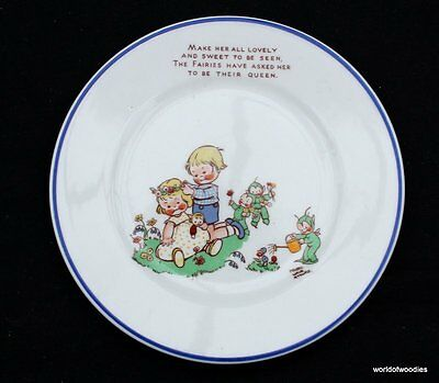 Shelley  Mable Lucie Attwell  Baby Plate With Fairy Boo Boo's - Rare