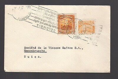 COLOMBIA 1940 Cover to Switzerland with Slogan Postmark