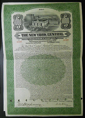 $1000 New York Central Railroad bond / stock certificate