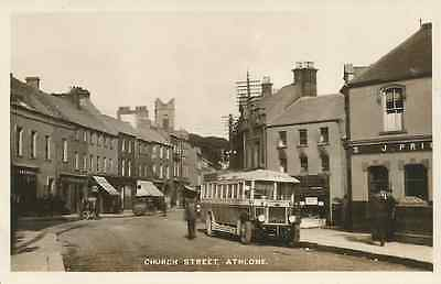 Old shops & Dublin Coach  Westmeath,  Church st,  Athlone, nr  Mullingar, R/P/Pc
