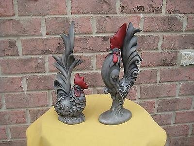 Set of 2  ROOSTER STATUE FIGURINE HOME FARM DECOR  Country CHICKEN