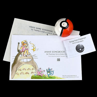 Pokemon Pokeball 6 Hole Ocarina with 3 Songbooks Video Games & Anime Songs