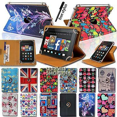 """Rotating Stand Leather Case Cover For Amazon Kindle Fire 7"""" 8"""" 8.9"""" 10"""" Tablet"""