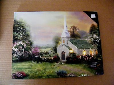 """16x12"""" Church horse LED Lighted canvas art print picture country home decor Sign"""