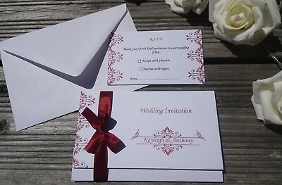 Personalised Vintage Wedding Invitations ANY COLOUR Day/Evening-FREE RSVPs