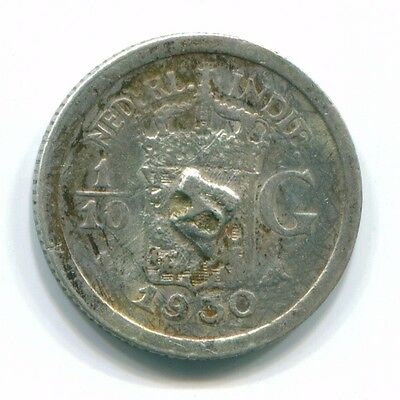 1930 Netherlands East Indies 1/10 Gulden Silver Colonial Coin Nl13453#3