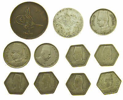 Egypt, Collection Of 11 Coins, Inc Silver, Middle East, 19Th-20Th Century