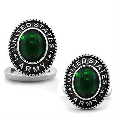US Army Emerald Green Stone Military Silver Stainless Steel Cufflink a Pair