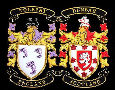 """HERALDIC COAT of ARMS HAND EMBROIDERY DOUBLE FAMILY CREST TOLBERT DUNBAR 12""""x9.5"""