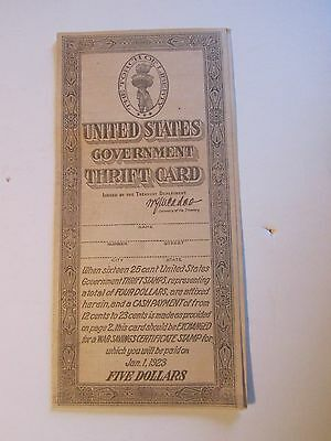 Vintage 1918 United States Government Thrift Card with on Stamp