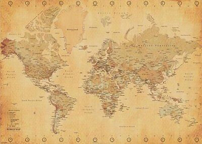 World Map Poster Vintage Antique 100x140cm Giant Wall Chart of the Atlas