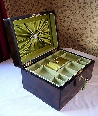 """Antique Victorian Coromandel & Mother Of Pearl Inlaid Jewellery Box Large 11"""""""