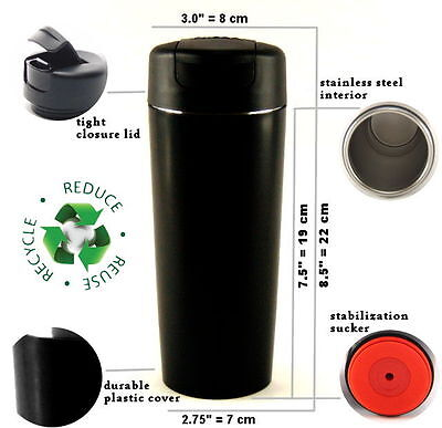 Mighty Stainless Steel Travel Coffee Suction Mug, BIG Vacuum Thermos 500ml Black