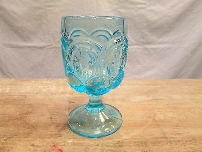 Light Electric Blue Moon and Stars Fenton LG Wright Pattern Glass Water Goblet