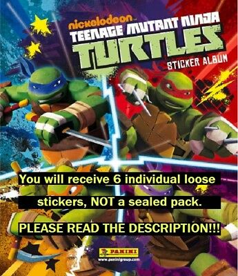 Six (6) Teenage Mutant Ninja Turtles Panini Collection Stickers