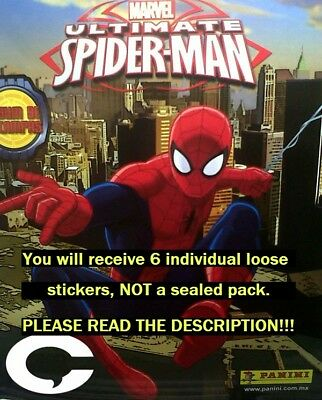 Six (6) Ultimate Spider-Man Panini Collection Stickers