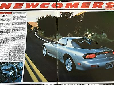 Mazda Rx-7 # 3 Page Original 1992 Automotive Newcomers Review #