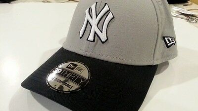 NY YANKEES Men Cap 39THIRTY New Era Fitted Medium Large Gray  Embroidered Logo