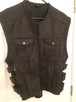 Street And Steel Black Leather Vest Large Heavy Motorcycle Club