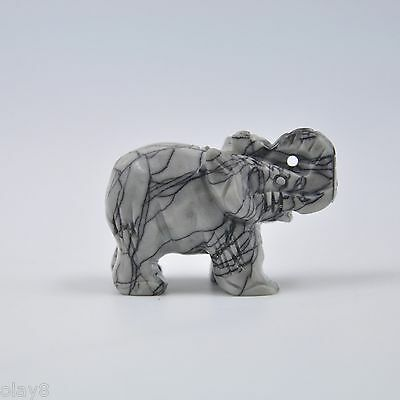 "New Arrival ""OL8"" Natural Jade Jadeite Lovely Elephant Statue 40x20x25mm"
