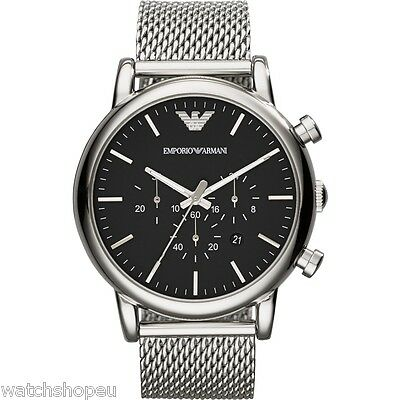 New Emporio Armani Ar1808 Mens Large Mesh Watch - 2 Years Warranty - Certificate