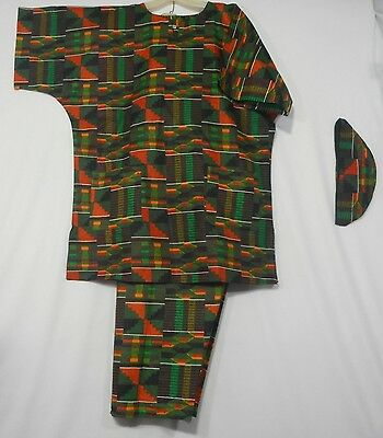 Men's Dashiki Clothing African Traditional Kente Pant Suit Ethnic Set Free Size