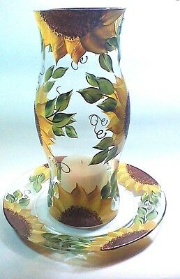 Large Sunflower Hurricane Candle Holder With Matching Plate-Hand Painted