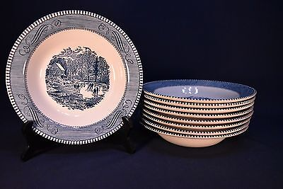 "Currier & Ives Early Winter 8-1/2"" Soup Plates -Excellent- Lot Of 9"