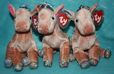 3 different versions TY ZODIAC HORSE BEANIES - RETIRED - NEW - RARE