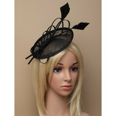 Black Fascinator on Headband/ Clip-in for Weddings, Races and Occasions-5893
