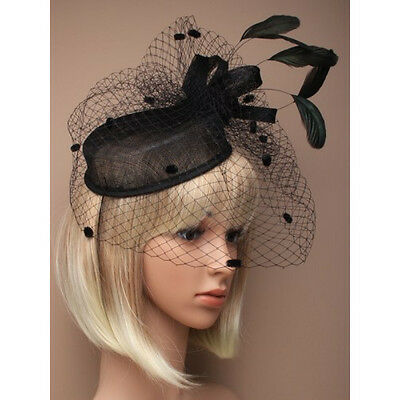Black Fascinator on Headband/ Clip-in for Weddings, Races and Occasions-5490