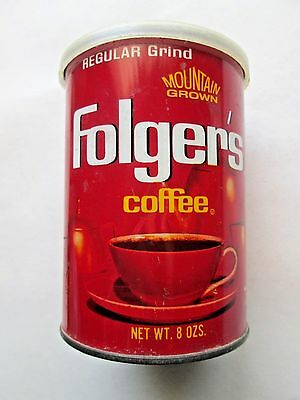 "1960s Folgers Regular Grind Mountain Grown Coffee Tin w/orig Lid 8 oz 3.25"" dmtr"
