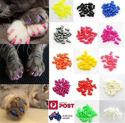 20pcs & 1 Glue Soft Cat Nail Caps Pet Claw Covers Paw Protective Mult-color
