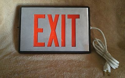 Industrial Lighted Exit Sign Heavy Duty Silver with Red Lettering & A/C Adapter
