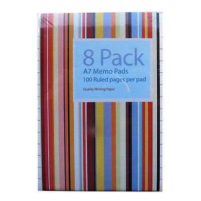A7 Memo Notepads (Pack of 8) - Padded - Each book is 50 Sheets = 100 Pages