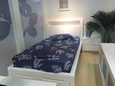New High Gloss White King Single Bed with Storage Drawers LED Lighting