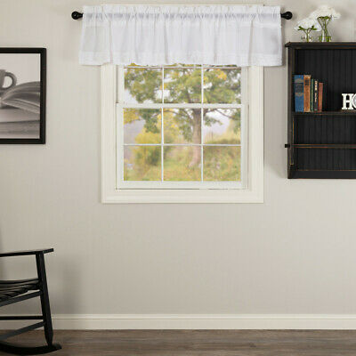 PARKER SCALLOPED VALANCE 16X90 VHC BRANDS COUNTRY PRIMITIVE Plaid Rustic