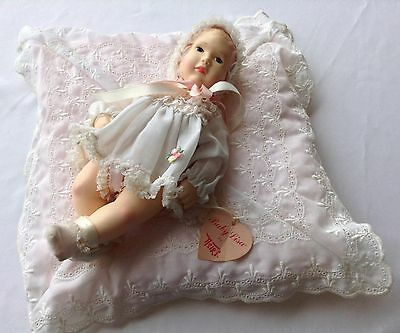 Vintage Effanbee Baby Lisa Doll by Astri 1980 11 inch with Pillow