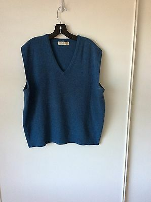 Mens Vintage Heavy Cashmere Vest Blue Made England Sz M Golf
