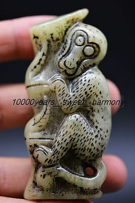 Superior quality Chinese old jade hand carved monkey&Bamboo statue  H3