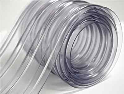 """150 Roll - 8"""" Wide Ribbed PVC Plastic Strip Curtain for Walk In Coolers, Doors"""