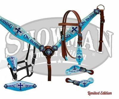 Showman RIDING ON FAITH Leather LIMITED EDITION 4 Piece Tack Set